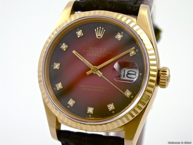 Rolex, Datejust, Reference 16018, 18K Yellow Gold,Diamond Dial