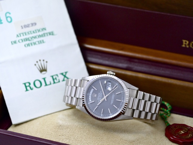 rolex day date ref 18239 in 18k white gold papers bj 1990. Black Bedroom Furniture Sets. Home Design Ideas