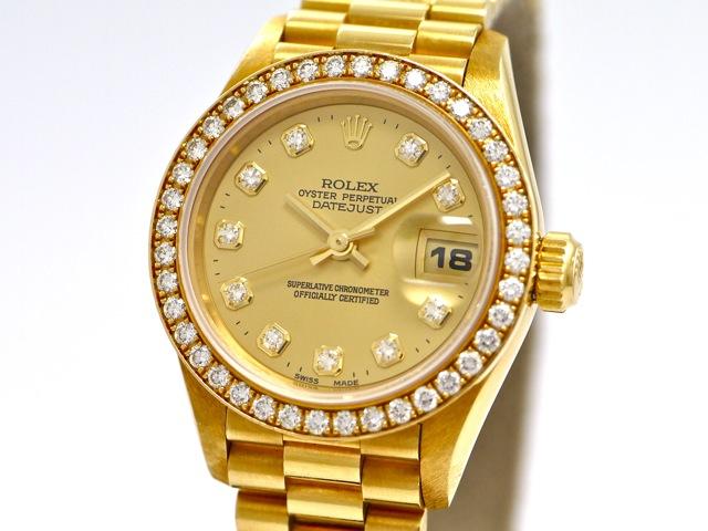 Armbanduhr rolex gold  Rolex Lady Datejust, Ref. 69138, 18k Yellow Gold, Original Diamond ...