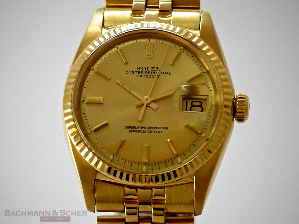 Tag Watches For Sale >> Rolex Datejust Vintage Ref 1601 18K Yellow Gold Bj 1972