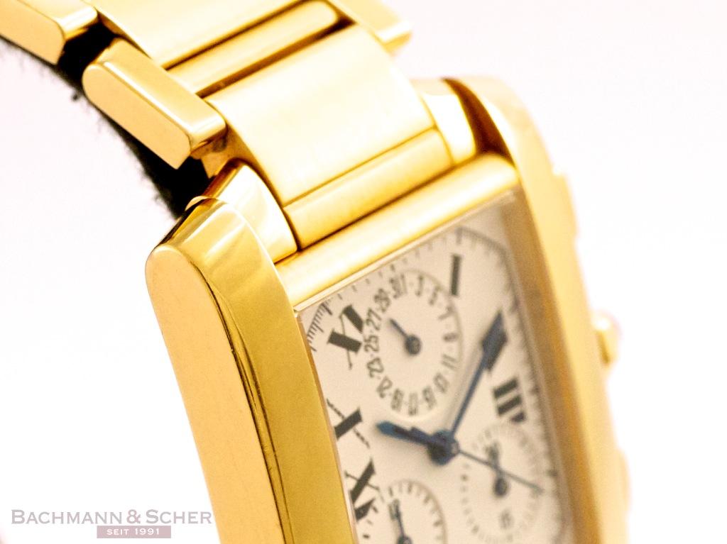 8eff2d57f4e7 Cartier. Tank Chronograph. Cartier Tank Francaise Chronograph Chronoflex  Ref-W50005R2 18k Yellow Gold ...