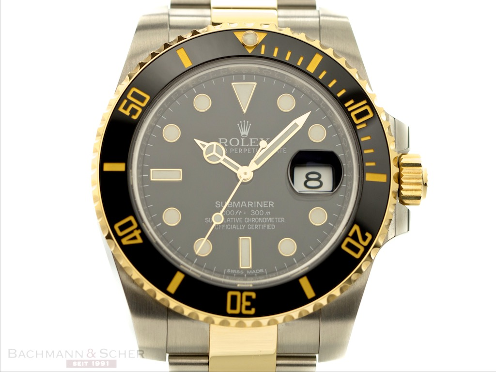 rolex submariner date ref 116613ln 18k yellow gold stainless steel box papers bj 2016 lc100. Black Bedroom Furniture Sets. Home Design Ideas