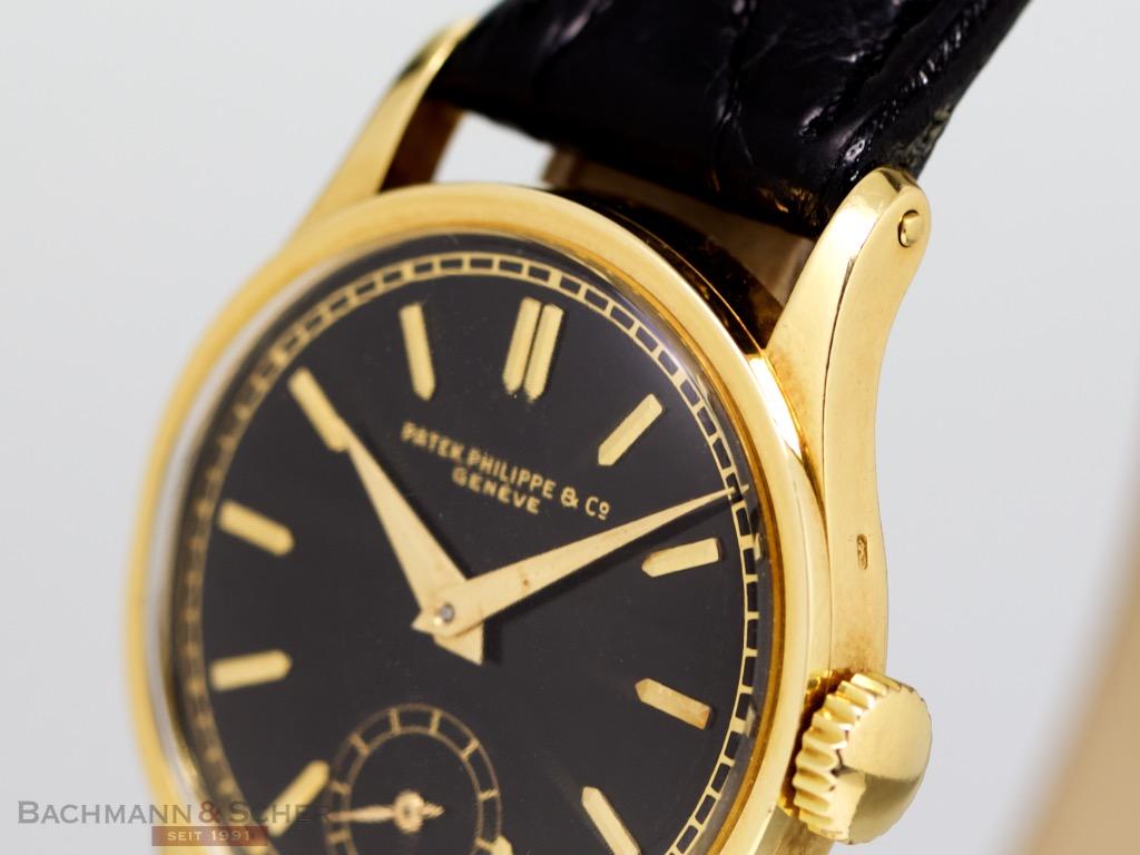 c77b4312d194 Patek Philippe Vintage Calatrava Black Dial Ref-96 18k Yellow Gold ...