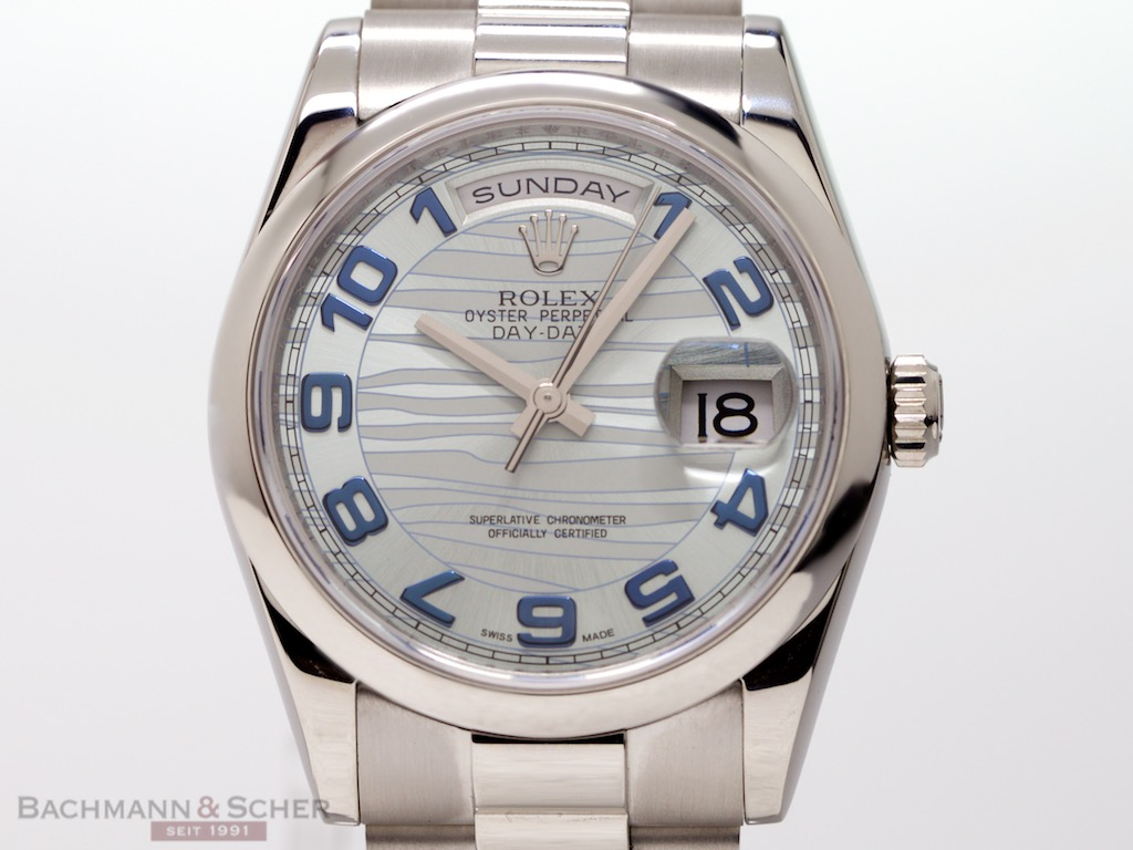 Rolex Day-Date Ref-118206 950 Platinum Ice Blue Waves Dial