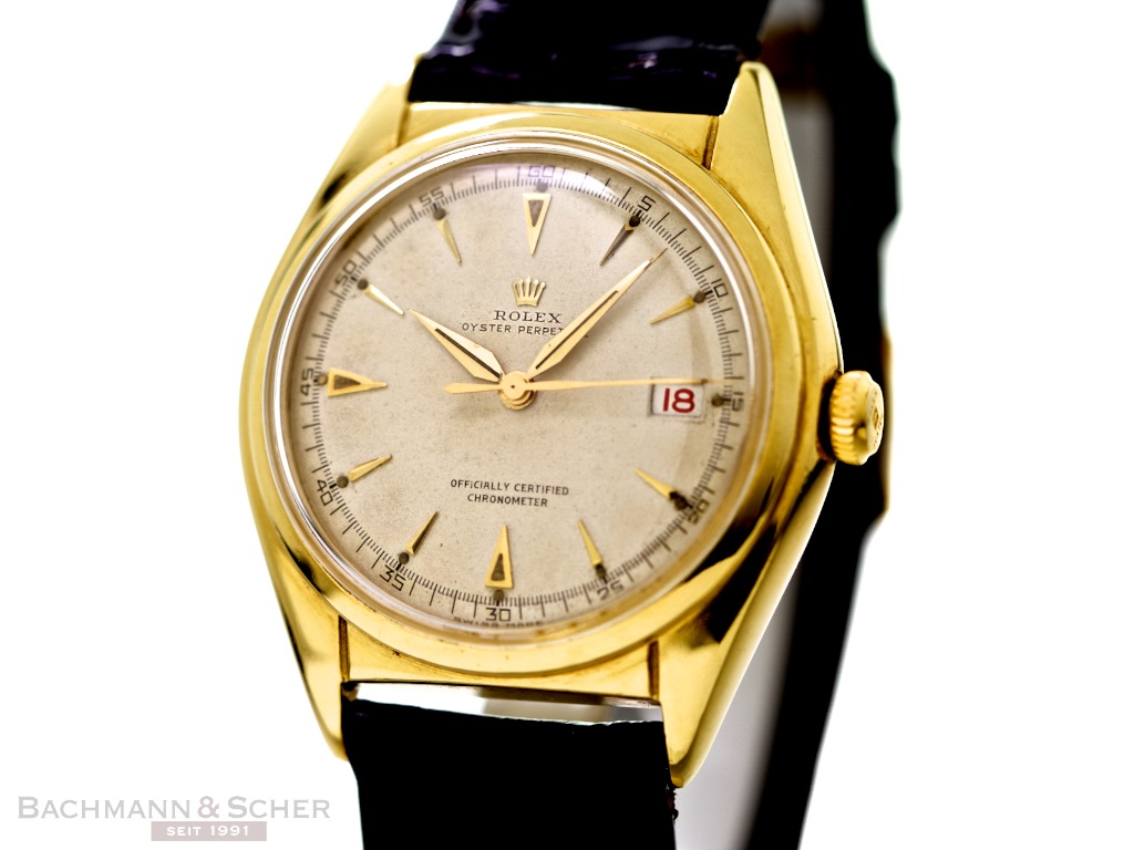 Tag Watches For Sale >> Rolex Vintage Pre-Datejust Bubble Back DATE Ref-5030 18 Yellow Gold Bj-1949